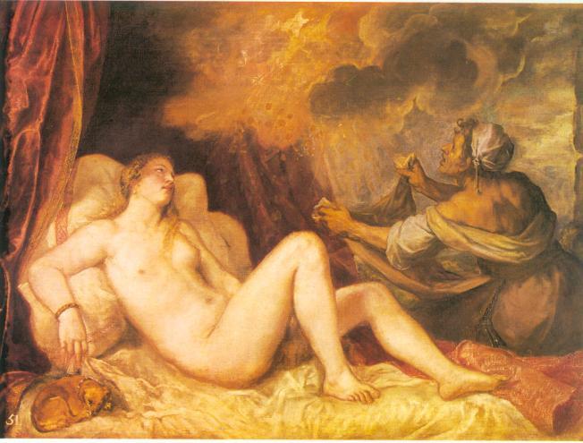 Dánae y la lluvia de Oro, Tiziano.