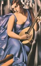 Mujer vestida de azul con mandolina. Tamara Lempicka