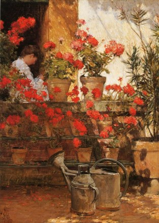 Childe Hassam (1859-1935)  Geraniums