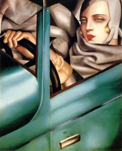 1925 Autoportrait  Tamara in Green Bugatti