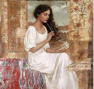 Mujer escribiendo. Autor?