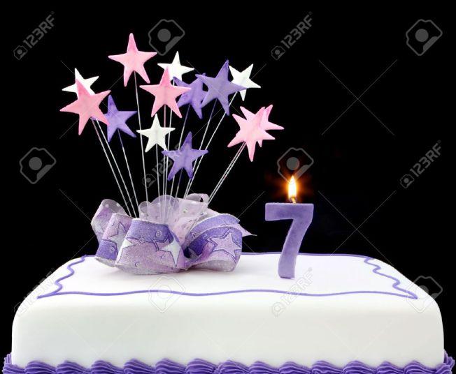 4315706-Te-apetece-torta-con-vela-n-mero-7-Decorado-con-cinta-y-las-formas-de-estrellas-en-tonos-pastel-sob-Foto-de-archivo